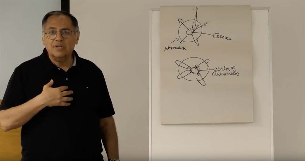Cyrus Ryan giving a talk on Meditation Technology and using a flip chart for making notes and illustrations