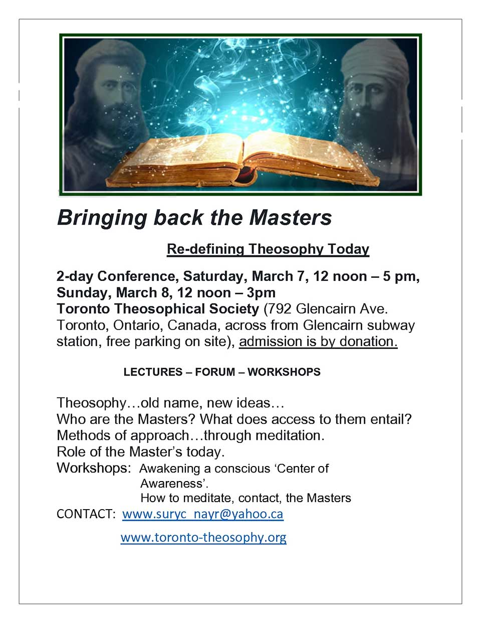 bringing back the masters re-defining theosophy today 2 day conference flyer